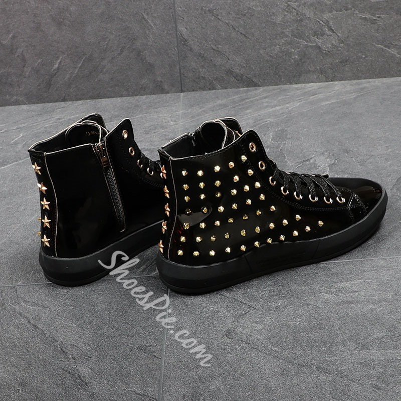 Shoespie Fashion Rivet Men Shoes Lace-Up Sneakers