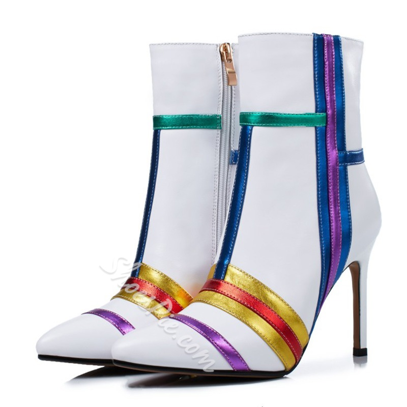 Shoespie Stiletto High Heel Stripe Fashion Boots