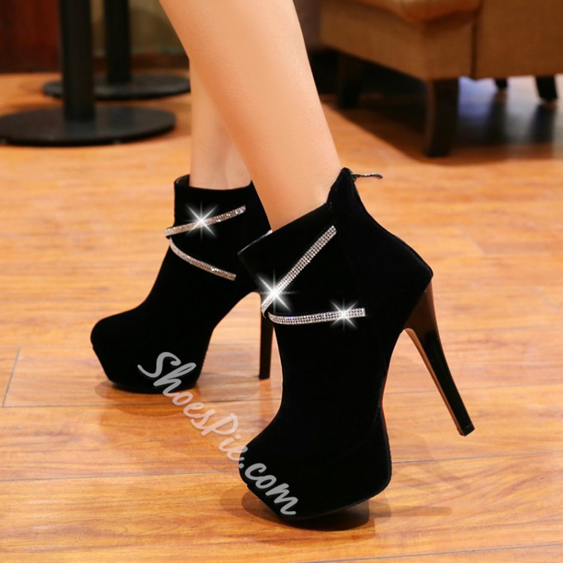 Shoespie Sexy Rhinestone High Heel Platform Ankle Boots
