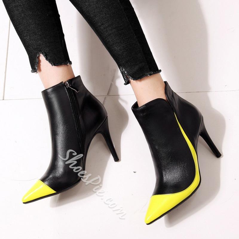 Shoespie Color Block Stiletto Heel Boots