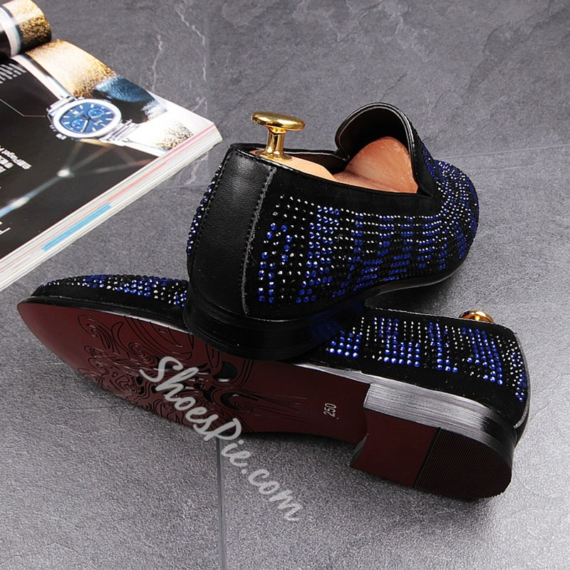 Slip-On Color Block Rhinestone Men's Loafers