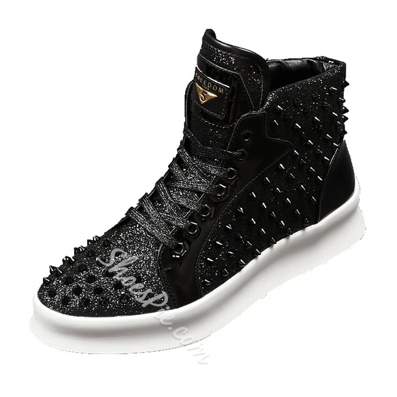 Shoespie Fashion Lace-Up Men Shoes Rivet Sneakers