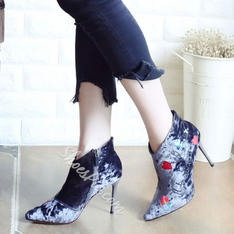 Shoespie Embroidery Stiletto Heel Ankle Boots