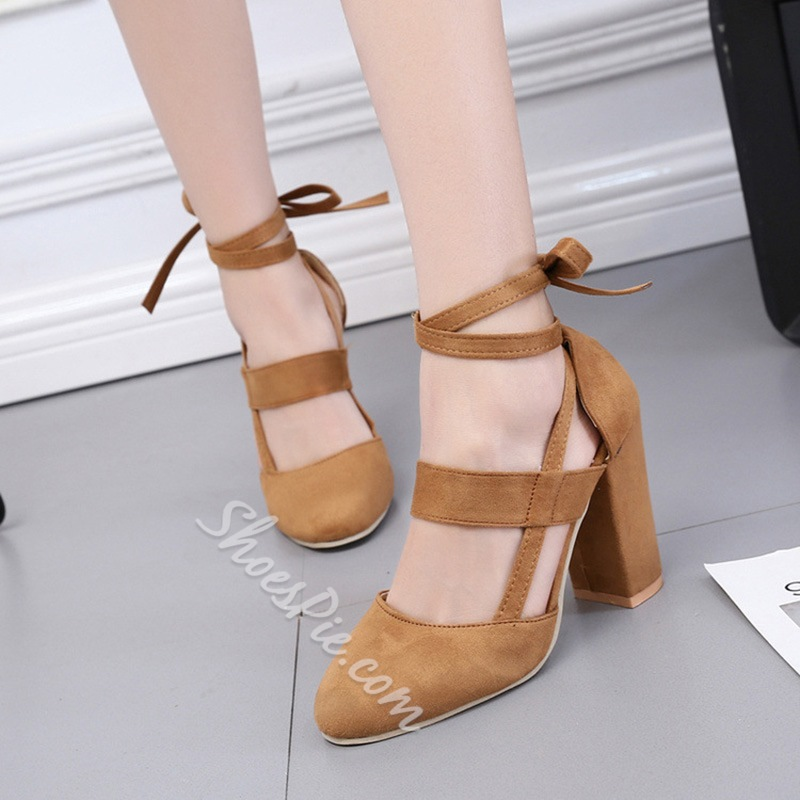 Lace-Up Chunky Heel Women's Shoes