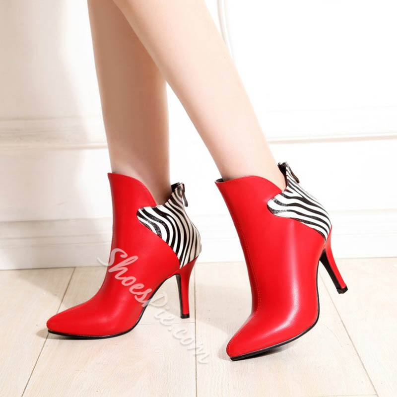 Shoespie Zebra Stiletto Heel Fashion Boots