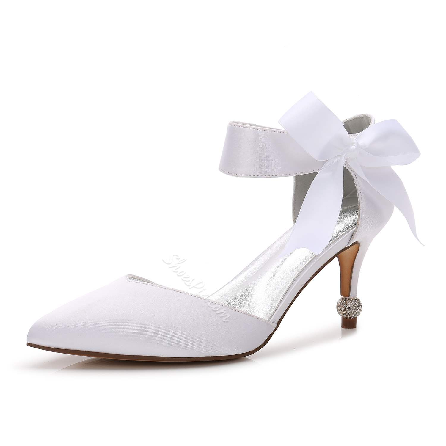 Shoespie Bowknot Stiletto Heel Slip-On Rhinestone Wedding Bridal Shoes