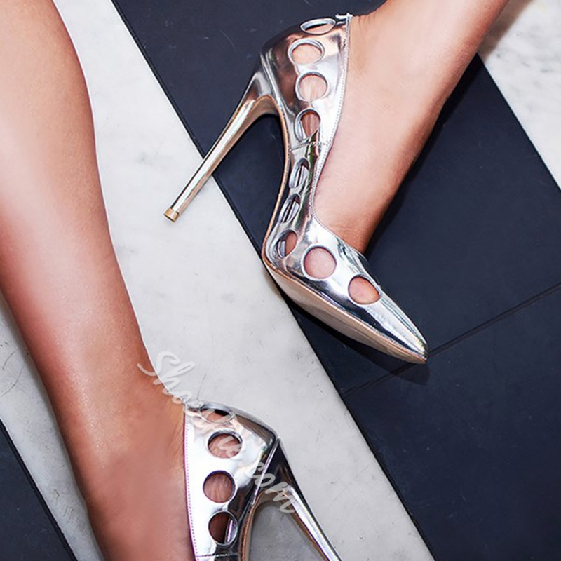 Shoespie Slip-On Pointed Toe Hollow Stiletto Heels