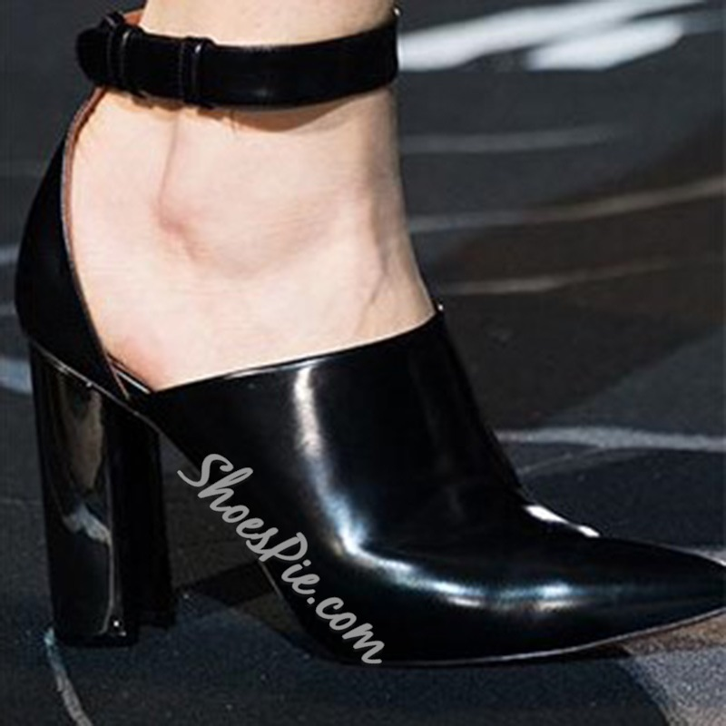 Shoespie Line-Style Buckle Pointed Toe Chunky Heel Ankle Boots