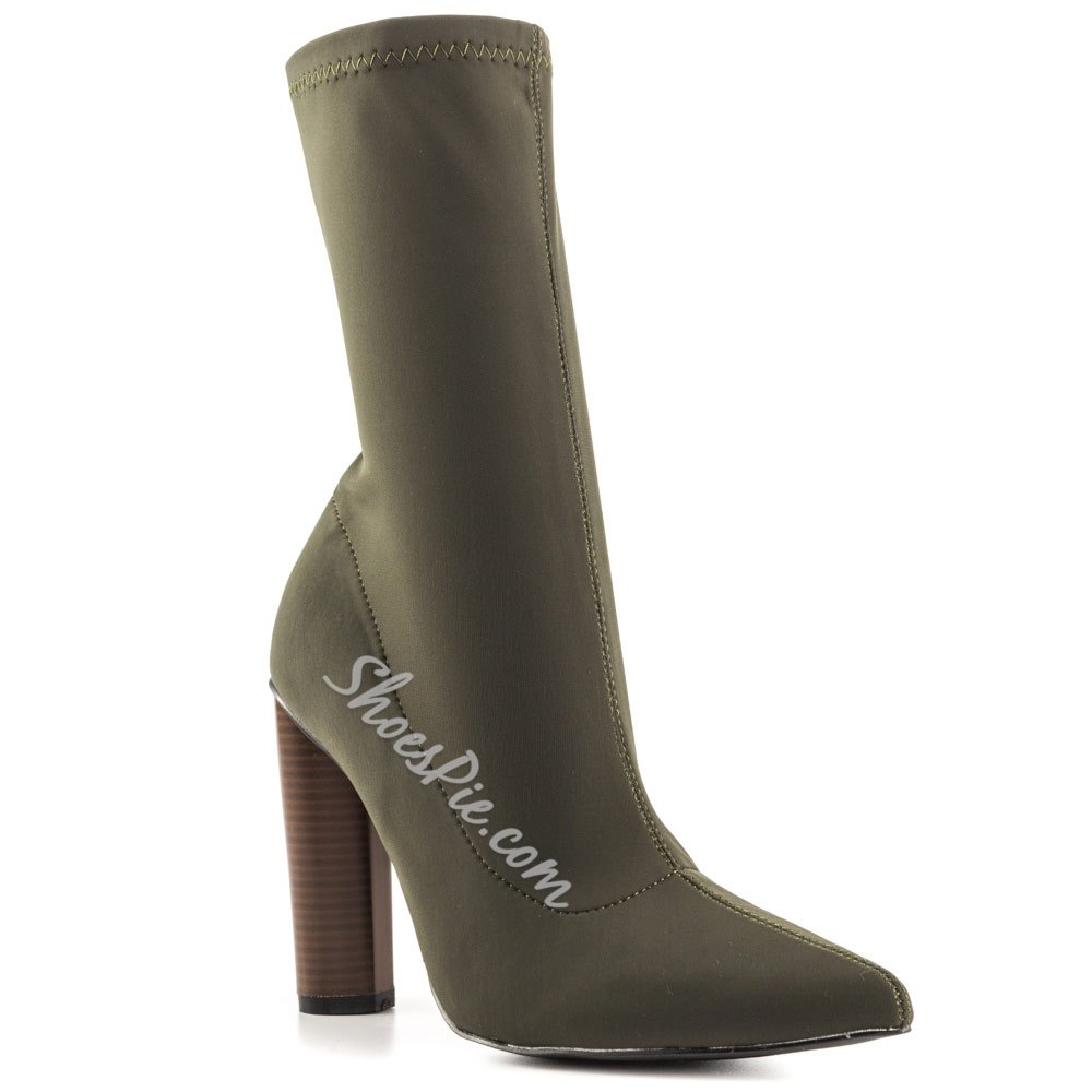 Shoespie Pointed Toe Chunky Heel Boots