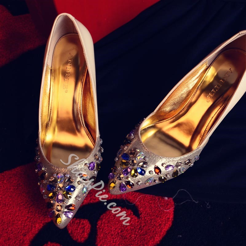 Rhinestone Slip-On Casual Stiletto Heels
