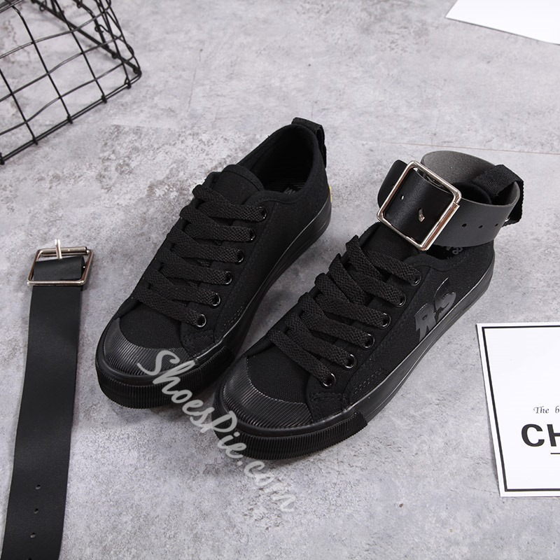 Lace-Up Buckle Canvas Women's Shoes