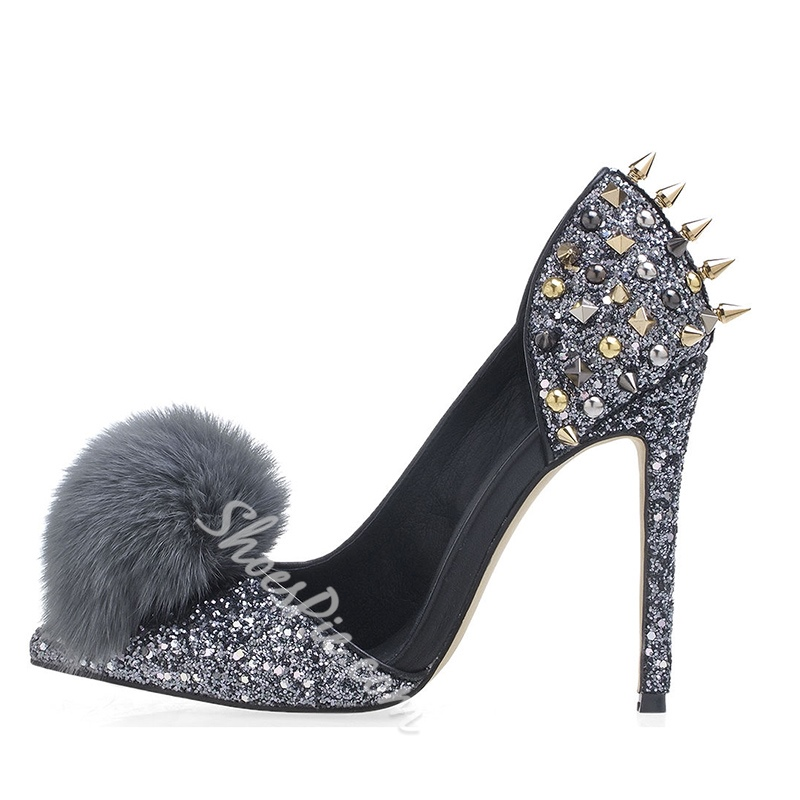 Shoespie Rivet Pompon Slip-On Pointed Toe Stiletto Heels