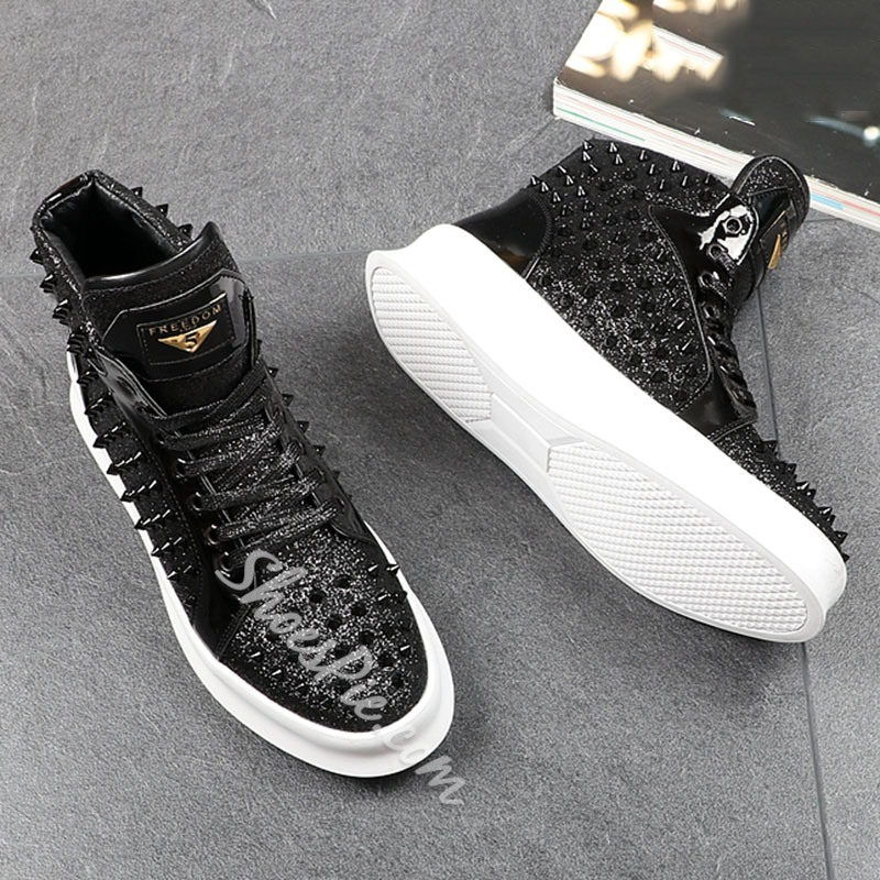 Shoespie Fashion Lace-Up Men's Rivet Sneakers