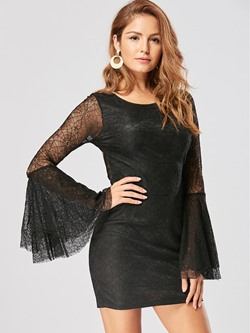 Shoespie Hollow Backless Lace Bodycon Dresses