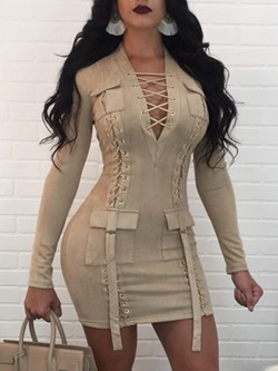 Shoespie Lace-Up Long Sleeve Bodycon Dresses