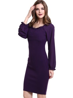 Shoespie Raglan Long Sleeve Bodycon Dresses