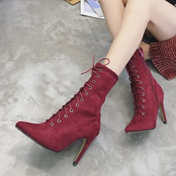 Shoespie Cross Strap Stiletto Heel Women's Boots