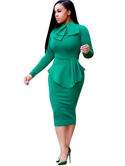 Falbala Bowknot Long Sleeve Bodycon Dresses