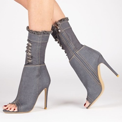 Shoespie Open Toe Stiletto Heel Denim Women's Boots