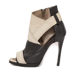 Hollow Peep Toe Color Block Stiletto Heel Boots