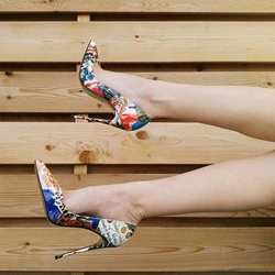 Shoespie Sexy Slip-On Floral High Stiletto Heels
