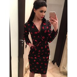 Shoespie Asymmetric Print Long Sleeve Bodycon Dresses