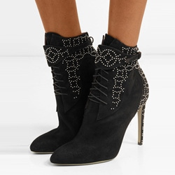 Shoespie Stiletto Heel Rhinestone Ankle Boots