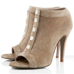 Hollow Button Stiletto Heel Fashion Boots