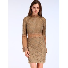 Shoespie Lace Flare Sleeve Bodycon Dresses