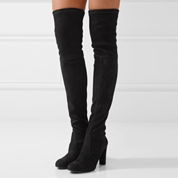 Shoespie Chunky Heel Black Knee High Boots