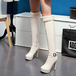 Shoespie Chunky High Heel Purfle Knee High Boots