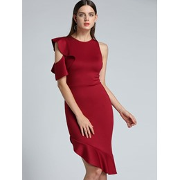 Shoespie Asymmetric Falbala Bodycon Dresses