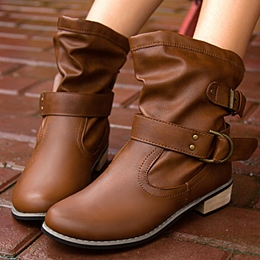 Casual Slip-On Buckle Block Heel Boots