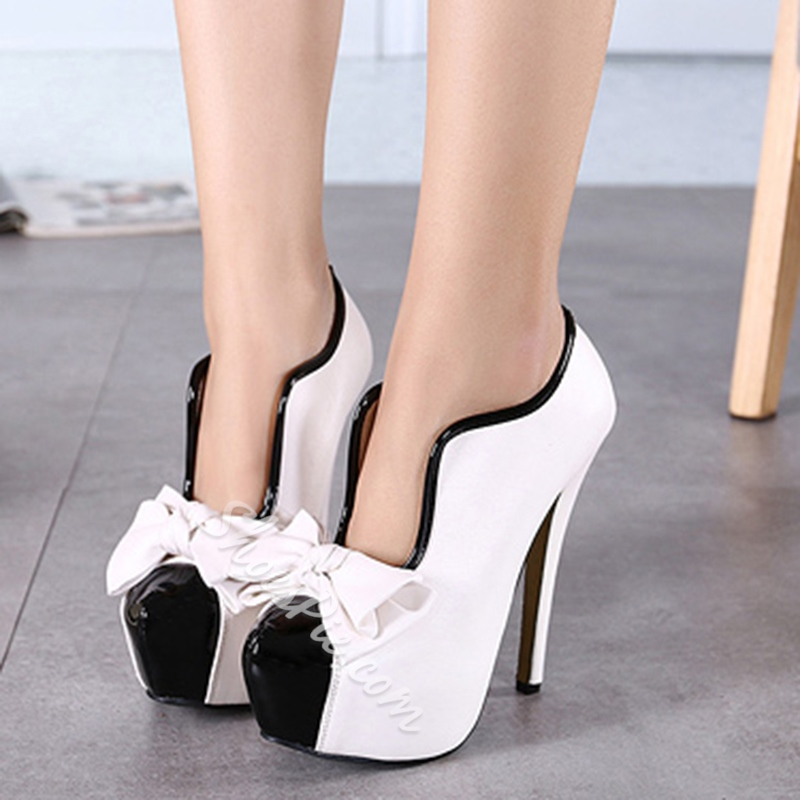Shoespie High Heel Platform Bow Ankle Boots