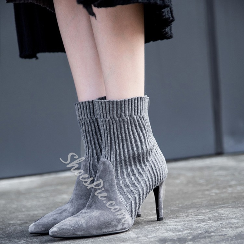 Shoespie Stiletto Heel Sock Ankle Boots