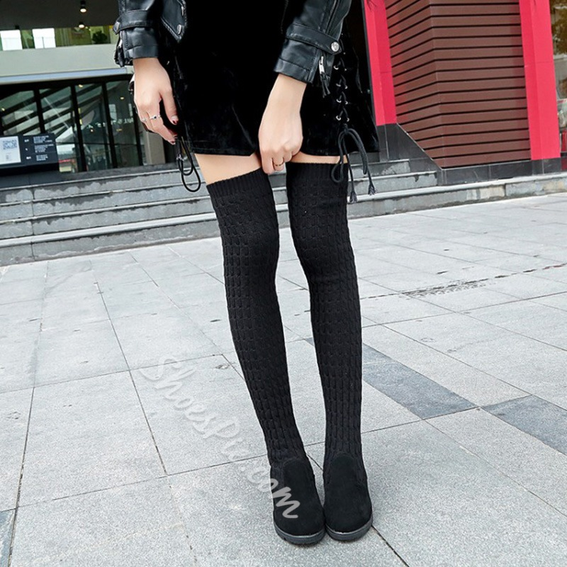 Casual Slip-On Sock Knee High Boots