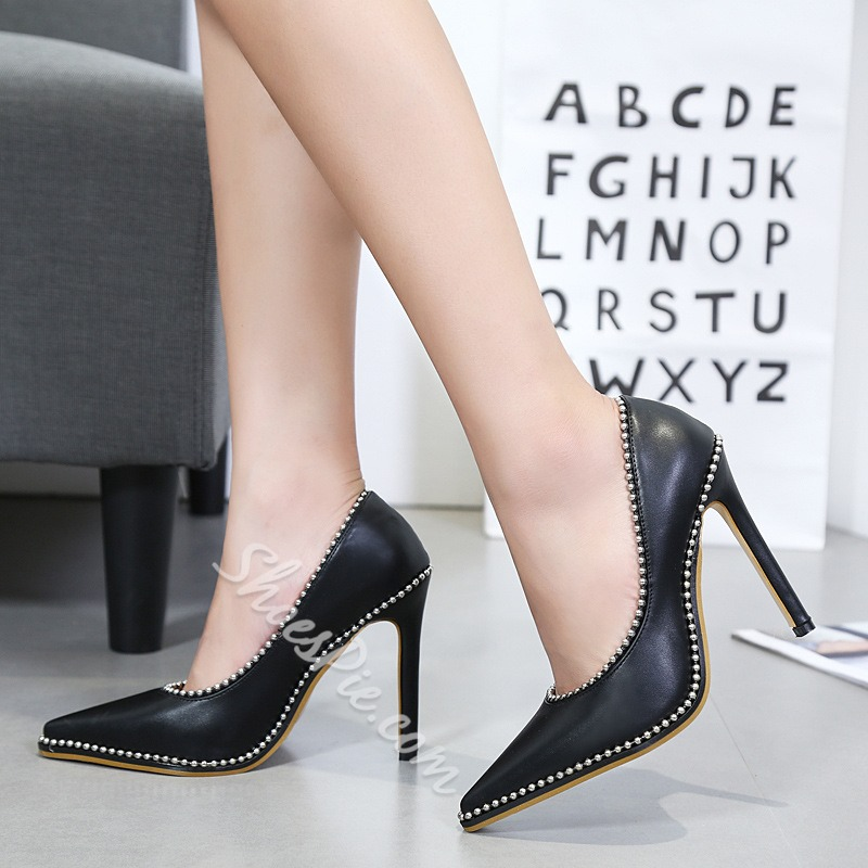 Rivet Slip-On Pointed Toe Stiletto Heels