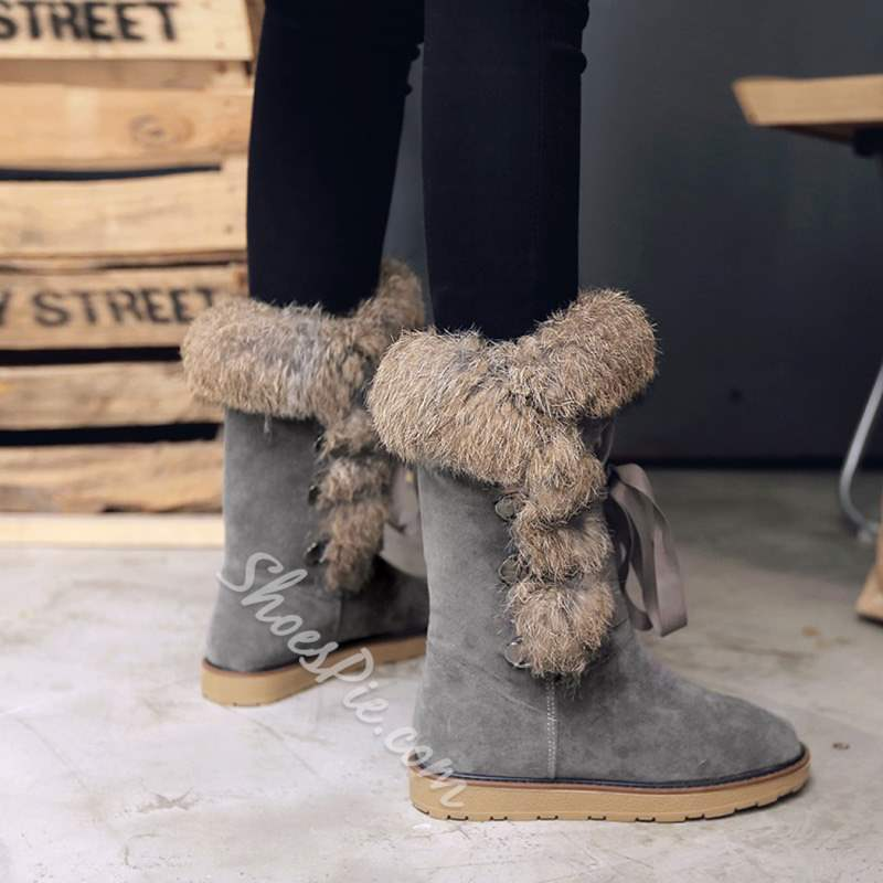 Shoespie Stylish Flat Lace-Up Purfle Snow Ankle Boots