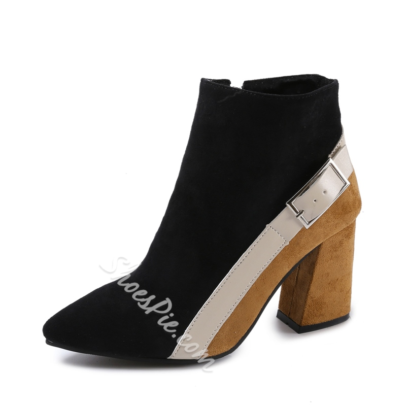 Chunky Heel Color Block Fashion Women's Boots