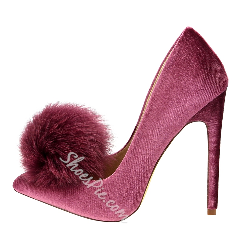 Pom Pom Slip-On High Stiletto Heels