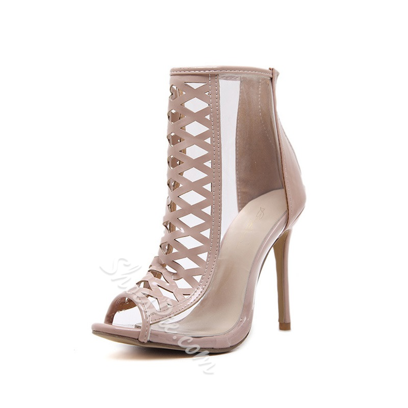 Shoespie Peep Toe High Heel See-Through Ankle Boots