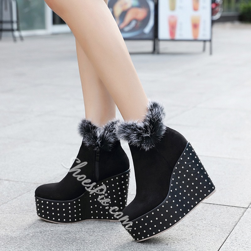 Fluffy Rivet Platform Wedge Heel Women's Boots