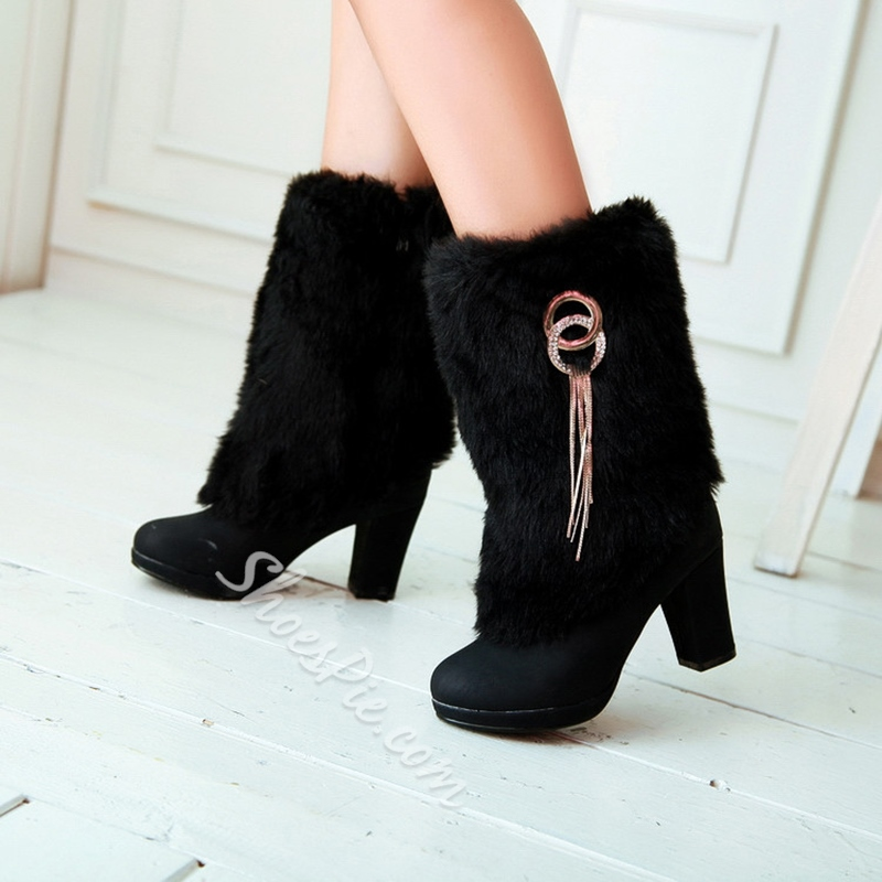 Shoespie Chunky Heel Fringe Winter Women's Boots