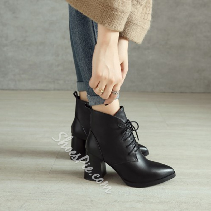 Shoespie Chunky Heel Lace-Up Women's Boots