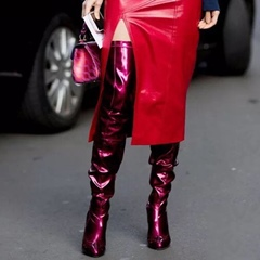 ShoespieWine Red Stiletto Heel Thigh High Boots