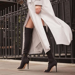 Shoespie Stiletto Heel Peep Toe Knee High Boots