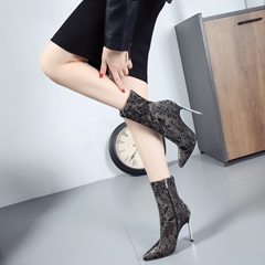 Shoespeie Lace Floral Stiletto Heel Women's Boots