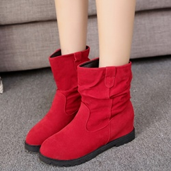 Shoespie Round Toe Block Heel Red Boots