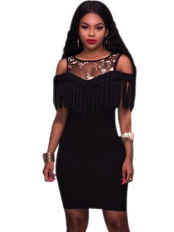 Fringe Embroidery Off-The-Shoulder Bodycon Dresses