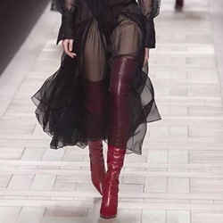 Shoespie Red Stiletto Heel Thigh High Boots